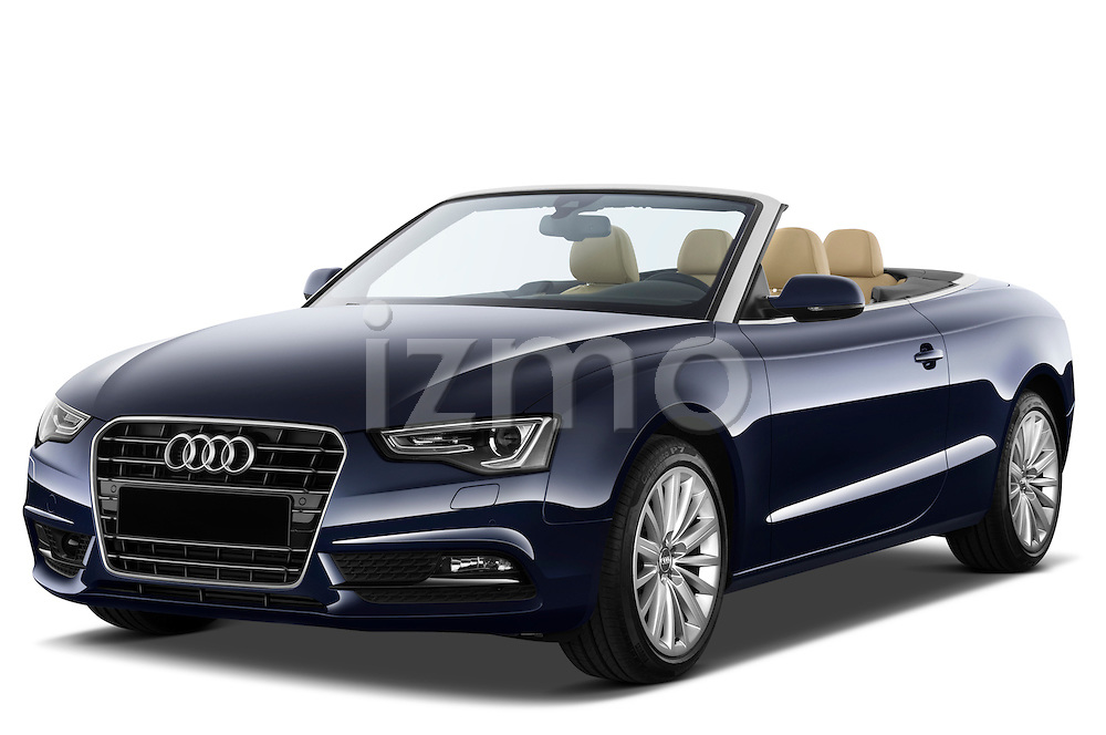 Front three quarter view of a 2013 Audi A5 Convertible with the top down...