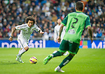 Real Madrid's Brazilian forward Marcelo during the Spanish league football match Real Madrid vs Celta de Vigo at the Santiago Bernabeu stadium in Madrid on december 6, 2014. Samuel de Roman / Photocall3000.
