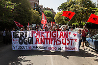 Rome, 25/04/2018. Today, to mark the 73rd Anniversary of the Italian Liberation from nazi-fascism ('Liberazione'), ANED Roma & ANPI Roma (National Association of Italian Partizans) held a march ('Corteo') from Garbatella to Piazzale Ostiense where a rally took place attended by Partizans, Veterans and politicians – including the Mayor of Rome and the President of Lazio's Region. From the organisers Facebook page:<<For the 25th of April, the 73rd Anniversary of the Liberation of Italy from nazi-fascism, while facing new threats to the world peace, it is necessary to remember that the Fight for Liberation triggered the greatest, positive, 'break' of the whole modern age of the Italian history. The Fight for the Liberation was supported by a great solidarity of the people. The memory of those who in the partizan struggle, in the camps of imprisonment, internment or extermination, opposed - even until the sacrifice of life - the dictatorship, the greed of territorial conquests, crazy ideologies of race supremacy, constitutes concrete warning against any attempt to undermine the foundations of the free institutions born of the Resistance. Memory is not an instrument of hatred or revenge, but of unity in a spirit of harmony without discriminations... <br />