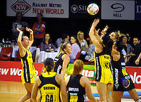 Action from the ANZ Netball Championship match between the Central Pulse and Waikato Bay Of Plenty Magic at TSB Bank Arena, Wellington, New Zealand on Monday, 30 March 2015. Photo: Dave Lintott / lintottphoto.co.nz