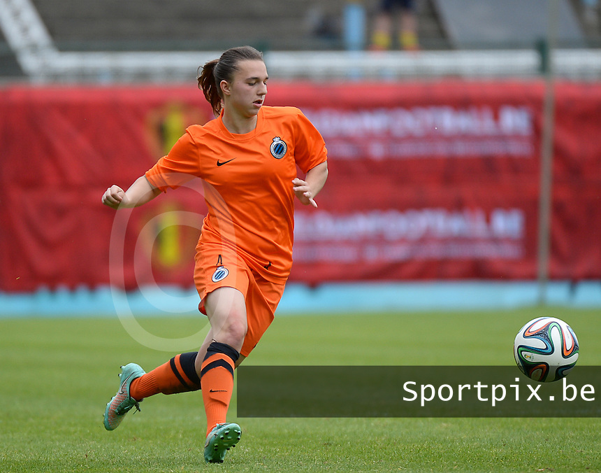 20150514 - BEVEREN , BELGIUM : Brugge's Jody Vangheluwe  pictured during the final of Belgian cup, a soccer women game between SK Lierse Dames and Club Brugge Vrouwen , in stadion Freethiel Beveren , Thursday 14 th May 2015 . PHOTO DAVID CATRY