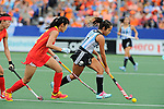 The Hague, Netherlands, June 10: Rocio Sanchez Moccia #17 of Argentina dribbles the ball during the field hockey group match (Women - Group B) between Argentina and China on June 10, 2014 during the World Cup 2014 at GreenFields Stadium in The Hague, Netherlands. Final score 1-1 (yy-yy) (Photo by Dirk Markgraf / www.265-images.com) *** Local caption ***