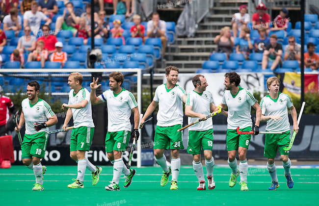 05/07/2015<br /> HWL Semi Final Antwerp Belgium 2015<br /> Ireland v Malaysia Men 5-6<br /> Goal for Ireland<br /> Photo: Grant Treeby