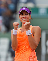 France, Paris, 28.05.2014. Tennis, French Open, Roland Garros, Garbine Muguruza (ESP) is celebrating her victory over Serena Williams (USA)<br /> Photo:Tennisimages/Henk Koster