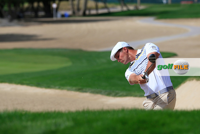 Bryson Dechambeau (USA) on the 3rd during Round 3 of the Omega Dubai Desert Classic, Emirates Golf Club, Dubai,  United Arab Emirates. 26/01/2019<br /> Picture: Golffile | Thos Caffrey<br /> <br /> <br /> All photo usage must carry mandatory copyright credit (&copy; Golffile | Thos Caffrey)