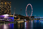The Esplanade Outdoor Theatre and the Singapore Flyer at night, Marina Bay, Singapore