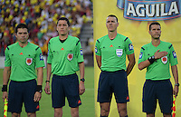 IBAGUE -COLOMBIA, 7-08-2016. Wilmar Roldan central Referee ( 2id) Acción de juego entre Millonarios vs Tolima   durante encuentro  por la fecha 7 de la Liga Aguila II 2016 disputado en el estadio Manuel  Murillo Toro.central referee ( 2l to r)/ Wilmar Roldan  Action game between  Millonarios  and Tolima  during match for the date 7 of the Aguila League II 2016 played at Mnauel  Murillo Toro stadium. Photo:VizzorImage / Juan Carlos Escobar Tagueno / Contribuidor