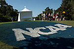 HOUSTON, TX - MAY 12: Fans gather around the No.1 tee box during the Division III Women's Golf Championship held at Bay Oaks Country Club on May 12, 2017 in Houston, Texas. (Photo by Rudy Gonzalez/NCAA Photos/NCAA Photos via Getty Images)