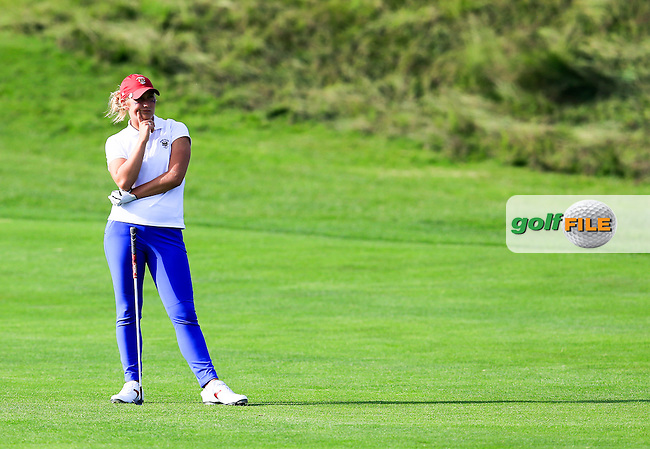 Bailey Tardy on the 15th during the Saturday afternoon fourballs at the 2016 Curtis cup from Dun Laoghaire Golf Club, Ballyman Rd, Enniskerry, Co. Wicklow, Ireland. 11/06/2016.<br /> Picture Fran Caffrey / Golffile.ie<br /> <br /> All photo usage must carry mandatory copyright credit (&copy; Golffile | Fran Caffrey)