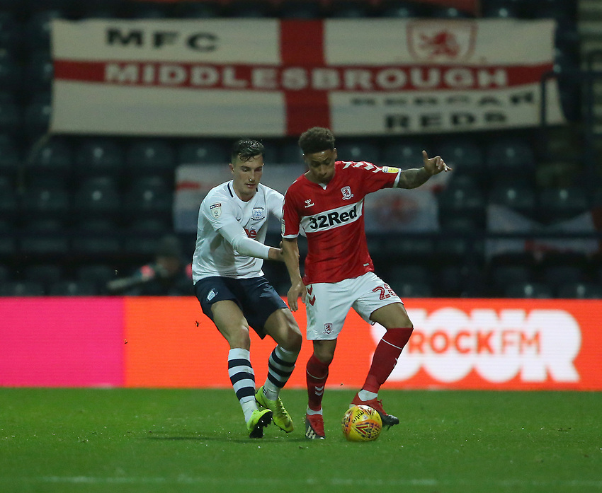 Middlesbrough's Marcus Tavernier shields the ball from Preston North End's Josh Earl<br /> <br /> Photographer Stephen White/CameraSport<br /> <br /> The EFL Sky Bet Championship - Preston North End v Middlesbrough - Tuesday 27th November 2018 - Deepdale Stadium - Preston<br /> <br /> World Copyright © 2018 CameraSport. All rights reserved. 43 Linden Ave. Countesthorpe. Leicester. England. LE8 5PG - Tel: +44 (0) 116 277 4147 - admin@camerasport.com - www.camerasport.com