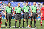 18 July 2015: Match officials. From left: Assistant Referee Leonel Leal (CRC), Fourth Official Joel Aguilar (SLV), Referee Henry Bejarano (CRC), and Assistant Referee Warner Castro (CRC). The United States Men's National Team played the Cuba Men's National Team at M&T Bank Stadium in Baltimore, Maryland in a 2015 CONCACAF Gold Cup quarterfinal match. The U.S. won the game 6-0.