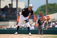Detroit Tigers relief pitcher Shane Greene (61) looks in for the sign during a Grapefruit League Spring Training game against the New York Yankees on February 27, 2019 at Publix Field at Joker Marchant Stadium in Lakeland, Florida.  Yankees defeated the Tigers 10-4 as the game was called after the sixth inning due to rain.  (Mike Janes/Four Seam Images)