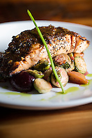 Copyright Justin Cook | November 7, 2013 - The Grilled Salmon in a maple mustard glaze at Jimmy V's in Raleigh, N.C.