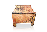 Minoan  pottery gabled larnax coffin chest with bird and papyrus decorations,   1300-1200 BC, Heraklion Archaeological  Museum, white background.