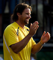 Pat Rafter cheers Lleyton Hewitt (AUS) in his match against Stanlinas Wawrinka (SUI) in the Fifth Rubber. Play was suspended due to bad light with the score at 6-4 4-6 7-6 4-6 3-5 in favour of Wawrinka...Tennis - Davis Cup - World Group - Royal Sydney Golf Club - Sydney - Day 3 - Sunday September 18th 2011..© AMN Images, Barry House, 20-22 Worple Road, London, SW19 4DH, UK..+44 208 947 0100.www.amnimages.photoshelter.com.www.advantagemedianetwork.com.