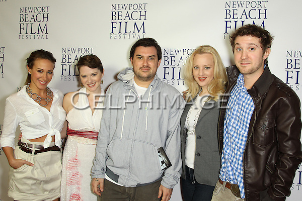 "HAYLIE DUFF, SARAH DREW, ABRAM MAKOWKA, WENDI MCLENDON-COVEY, SAM HUNTINGTON. Red Carpet arrivals to the World Premiere of ""Tug,"" presented on the final evening of the 2010 Newport Beach Film Festival. Newport Beach, CA, USA. April 29, 2010."