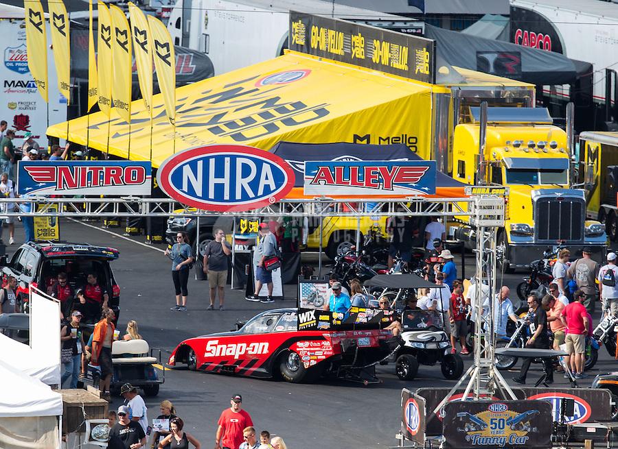 Sep 17, 2016; Concord, NC, USA; NHRA funny car driver Cruz Pedregon during qualifying for the Carolina Nationals at zMax Dragway. Mandatory Credit: Mark J. Rebilas-USA TODAY Sports