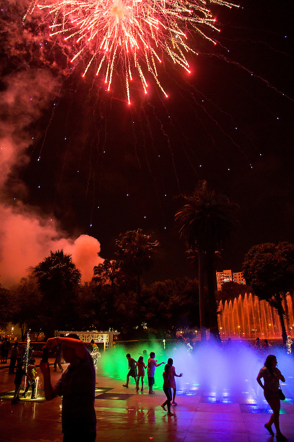 Fire works at Reserva Park in Lima, Peru.
