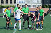 Allston, MA - Sunday July 17, 2016: Kassey Kallman, Matthew Franz, Christie Rampone prior to a regular season National Women's Soccer League (NWSL) match between the Boston Breakers and Sky Blue FC at Jordan Field.