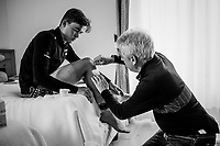 Mads Pedersen (DEN/Trek-Segafredo) treated for road-rash by team doctor Daniele 'Nino' Gaetano at the team hotel<br /> <br /> stage 16: Trento &ndash; Rovereto iTT (34.2 km)<br /> 101th Giro d'Italia 2018