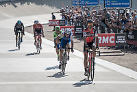Victory sprint for Greg Van Avermaet (BEL/BMC), beating <br /> <br /> 115th Paris-Roubaix 2017 (1.UWT)<br /> One Day Race: Compi&egrave;gne &rsaquo; Roubaix (257km)