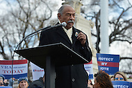 February 27, 2013  (Washington, DC)  Congressman John Conyers shows a lapel pin of Rosa Parks as he speaks at voting rights rally in front of the U.S. Supreme Court. The Court heard arguments regarding the constitutionality of Section 5 of the Voting Rights Act.   (Photo by Don Baxter/Media Images International)
