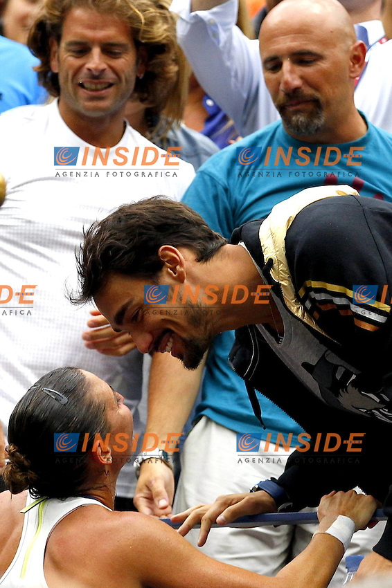 Flavia Pennetta kisses her boyfriend, Fabio Fognini of Italy at the US Open, Flushing, New York, 2015 / US Open Tennis Championships 2015 Day Thirteen Flushing Meadows US Open, New York, United States 12 September 2015 <br /> Bacio<br /> Flushing Meadows 12/9/2015 <br /> Tennis US Open Finale donne tra Flavia Pennetta e Roberta Vinci <br /> Flavia Pennetta vince gli US Open <br /> Foto Imago / Insidefoto<br /> ITALY ONLY