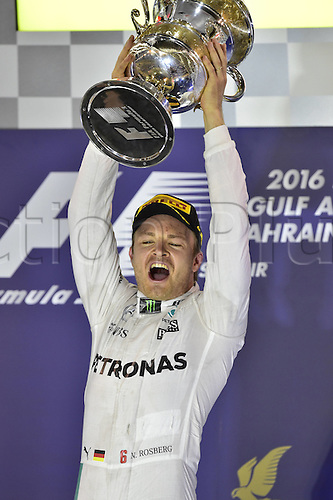 03.04.2016. Sakhir, Bahrain. F1  Grand Prix of Bahrain, 6 Nico Rosberg (GER, Mercedes AMG Petronas Formula One Team) on the podium with trophy