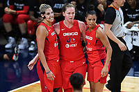 Washington, DC - Sept 17, 2019: Washington Mystics Elena Delle Donne (11), Emma Meesseman (33) and Natasha Cloud (9) huddle up after a foul call during WNBA Playoff semi final game between Las Vegas Aces and Washington Mystics at the Entertainment & Sports Arena in Washington, DC. The Mystics hold on to beat the Aces 97-95. (Photo by Phil Peters/Media Images International)