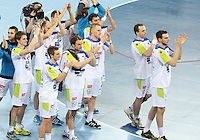 25.01.2013 Barcelona, Spain. IHF men's world championship, 3º/4º place. Picture show Slovenian team after lost game between Slovenia vs Croatia at Palau St. Jordi