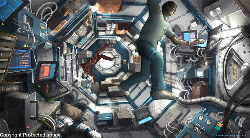 The original concept included a central, gravity-free hub where the crew ran experiments.