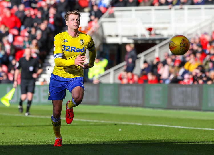 Leeds United's Patrick Bamford in action<br /> <br /> Photographer Alex Dodd/CameraSport<br /> <br /> The EFL Sky Bet Championship - Middlesbrough v Leeds United - Saturday 9th February 2019 - Riverside Stadium - Middlesbrough<br /> <br /> World Copyright &copy; 2019 CameraSport. All rights reserved. 43 Linden Ave. Countesthorpe. Leicester. England. LE8 5PG - Tel: +44 (0) 116 277 4147 - admin@camerasport.com - www.camerasport.com