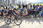 The peloton tackle the famous cobbled climb of Kemmelberg during Gent-Wevelgem in Flanders Fields 2017 running 249km from Denieze to Wevelgem, Flanders, Belgium. 26th March 2017.<br /> Picture: Eoin Clarke | Cyclefile<br /> <br /> <br /> All photos usage must carry mandatory copyright credit (&copy; Cyclefile | Eoin Clarke)