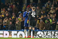Kurt Zouma of Chelsea shows his disappointment as Oxford equalise during the The Checkatrade Trophy match between Chelsea U23 and Oxford United at Stamford Bridge, London, England on 8 November 2016. Photo by Andy Rowland.