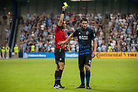 Kansas City, KS - Wednesday August 9, 2017: Nima Saghafi, Andres Imperiale during a Lamar Hunt U.S. Open Cup Semifinal match between Sporting Kansas City and the San Jose Earthquakes at Children's Mercy Park.