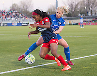 Boyds, MD - April 16, 2016: Washington Spirit forward Crystal Dunn (19) and Boston Breakers player McCall Zerboni (77). The Washington Spirit defeated the Boston Breakers 1-0 during their National Women's Soccer League (NWSL) match at the Maryland SoccerPlex.