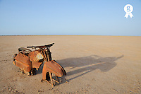 Abandoned and rusty Motorbike wreck in desert (Licence this image exclusively with Getty: http://www.gettyimages.com/detail/106905617 )