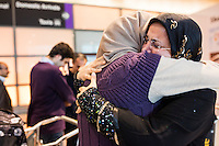 Sahar Harati, of Atlanta, Georgia, (left) embraces her mother Parvin (last name withheld) after Harati's parents arrived at Logan Airport's Terminal E in Boston, Massachusetts, USA. Harati's parents were on a Lufthansa flight from Frankfurt, Germany, one of the first flights allowing people from seven Muslim-majority countries banned from traveling to the US under an executive order signed by President Donald Trump. Harati's parents had a trip planned for March 1, but decided to move it up to January 28 because of Trump's stance on travelers from Iran. They were turned away from their planned flight from Doha to Atlanta, but when the flight from Frankfurt to Boston opened up, they got tickets and flew to the US.