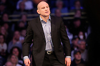 STATE COLLEGE, PA - FEBRUARY 8: Head coach Cael Sanderson of the Penn State Nittany Lions coaches during a match against the Iowa Hawkeyes on February 8, 2015 at the Bryce Jordan Center on the campus of Penn State University in State College, Pennsylvania. The Hawkeyes won 18-12. (Photo by Hunter Martin/Getty Images) *** Local Caption *** Cael Sanderson