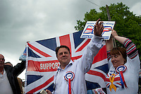 Nick Griffin, leader of the British National Party (BNP), waits to heckle Conservative Party leader David Cameron who was due to arrive at a health clinic in Dagenham, East London.