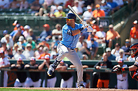 Tampa Bay Rays center fielder Kevin Kiermaier (39) at bat during a Grapefruit League Spring Training game against the Baltimore Orioles on March 1, 2019 at Ed Smith Stadium in Sarasota, Florida.  Rays defeated the Orioles 10-5.  (Mike Janes/Four Seam Images)