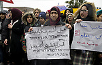 Palestinian students take part in a protest against the decision to impose the Israeli curriculum on their schools, in the Sheikh Jarrah neighborhood of occupied East Jerusalem, on January 20, 2020. Photo by Muhammed Qarout Idkaidek