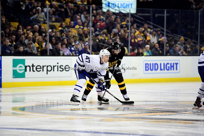 Saturday, December 10, 2016: Toronto Maple Leafs center Leo Komarov (47) and Toronto Maple Leafs center Tyler Bozak (42) wait for the puck to drop during the National Hockey League game between the Toronto Maple Leafs and the Boston Bruins held at TD Garden, in Boston, Mass. Toronto defeats Boston 4-1 in regulation time. Eric Canha/CSM