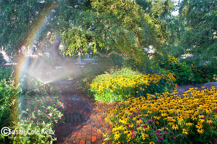A rainbow in the gardens at Prescott Park in Portsmouth, NH, USA