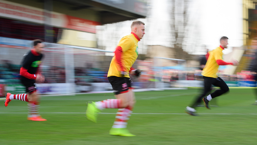 Lincoln City's Danny Rowe during the pre-match warm-up<br /> <br /> Photographer Chris Vaughan/CameraSport<br /> <br /> The EFL Sky Bet League Two - Lincoln City v Northampton Town - Saturday 9th February 2019 - Sincil Bank - Lincoln<br /> <br /> World Copyright © 2019 CameraSport. All rights reserved. 43 Linden Ave. Countesthorpe. Leicester. England. LE8 5PG - Tel: +44 (0) 116 277 4147 - admin@camerasport.com - www.camerasport.com