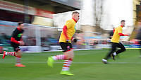Lincoln City's Danny Rowe during the pre-match warm-up<br /> <br /> Photographer Chris Vaughan/CameraSport<br /> <br /> The EFL Sky Bet League Two - Lincoln City v Northampton Town - Saturday 9th February 2019 - Sincil Bank - Lincoln<br /> <br /> World Copyright &copy; 2019 CameraSport. All rights reserved. 43 Linden Ave. Countesthorpe. Leicester. England. LE8 5PG - Tel: +44 (0) 116 277 4147 - admin@camerasport.com - www.camerasport.com