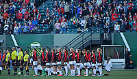 Portland, Oregon - Wednesday September 7, 2016: Portland Thorns players stand before a regular season National Women's Soccer League (NWSL) match at Providence Park.