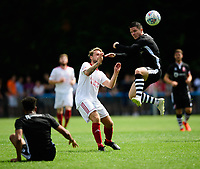 Lincoln City's Billy Knott vies for possession with Lincoln United's Rob Norris<br /> <br /> Photographer Chris Vaughan/CameraSport<br /> <br /> Football - Pre-Season Friendly - Lincoln United v Lincoln City - Saturday 8th July 2017 - Sun Hat Villas Stadium - Lincoln<br /> <br /> World Copyright &copy; 2017 CameraSport. All rights reserved. 43 Linden Ave. Countesthorpe. Leicester. England. LE8 5PG - Tel: +44 (0) 116 277 4147 - admin@camerasport.com - www.camerasport.com