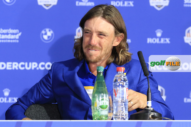 Tommy Fleetwood (Team Europe) at the press conference after Europe win the Ryder Cup 17.5 to 10.5 at the end of Sunday's Singles Matches at the 2018 Ryder Cup 2018, Le Golf National, Ile-de-France, France. 30/09/2018.<br /> Picture Eoin Clarke / Golffile.ie<br /> <br /> All photo usage must carry mandatory copyright credit (© Golffile   Eoin Clarke)