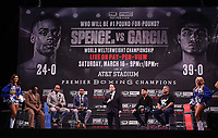LOS ANGELES - FEBRUARY 16: (L-R) Tommy Hearns, trainer Derrick James, Errol Spence Jr., Kenny Albert, Mikey Garcia, and trainer Robert Garcia attend the Los Angeles press conference for the Spence vs Garcia March 16 Fox Sports PBC PPV fight on February 16, 2019 in Los Angeles, California. The March 16 fight will be at the AT&T Stadium in Dallas, Texas. (Photo by Frank Micelotta/Fox Sports/PictureGroup)